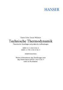 Technische Thermodynamik Theoretische Grundlagen und praktische Anwendungen