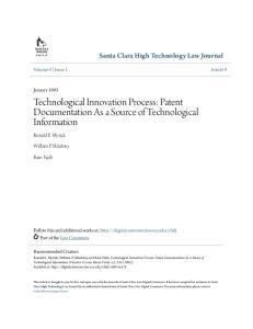Technological Innovation Process: Patent Documentation As a Source of Technological Information