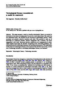 Technological literacy reconsidered: a model for enactment
