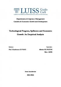 Technological Progress, Spillovers and Economic Growth: An Empirical Analysis