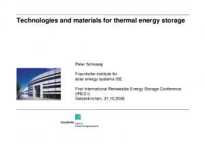 Technologies and materials for thermal energy storage