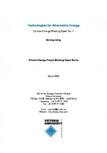 Technologies for Alternative Energy