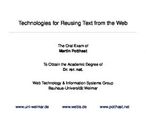 Technologies for Reusing Text from the Web