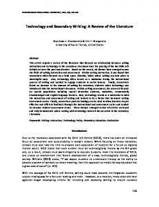 Technology and Secondary Writing: A Review of the Literature