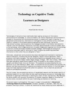 Technology as Cognitive Tools: Learners as Designers