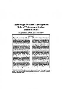 Technology for Rural Development Role of Telecommunication Media in India