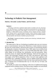 Technology in Pediatric Pain Management