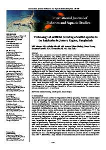 Technology of artificial breeding of catfish species in the hatcheries in Jessore Region, Bangladesh