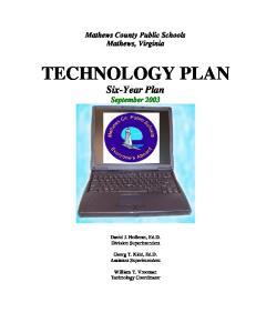 TECHNOLOGY PLAN Six-Year Plan September 2003