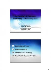Technology & Solution Roadmap Mobile Perspective