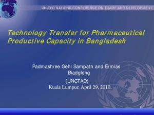 Technology Transfer for Pharmaceutical Productive Capacity in Bangladesh