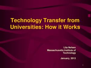 Technology Transfer from Universities: How it Works