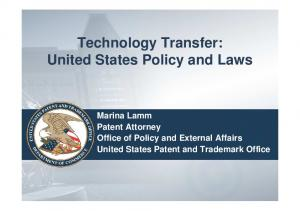 Technology Transfer: United States Policy and Laws