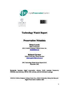 Technology Watch Report. Preservation Metadata
