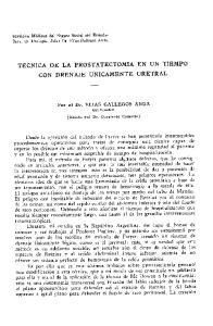 TECNICA DE LA PROSTATECTOMIA EN UN TIEMPO