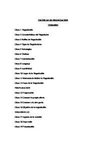 TECNICAS DE NEGOCIACION TEMARIO