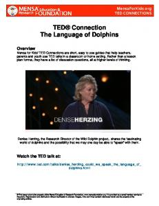 TED Connection The Language of Dolphins