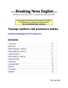 Teenage mothers risk premature babies