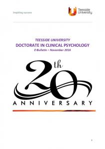 TEESSIDE UNIVERSITY. DOCTORATE IN CLINICAL PSYCHOLOGY E-Bulletin November 2016
