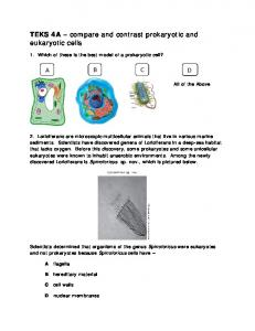TEKS 4A compare and contrast prokaryotic and eukaryotic cells