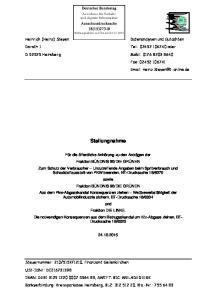 Tel.: oder. D Heinsberg Mobil: Stellungnahme