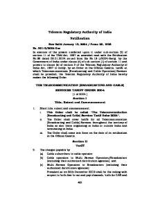 Telecom Regulatory Authority of India Notification