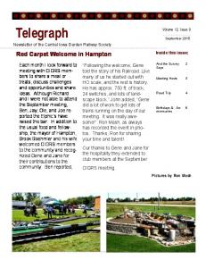 Telegraph. Red Carpet Welcome in Hampton. Volume 12, Issue 9