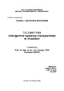 TELEMATYKA inteligentne systemy transportowe w miastach