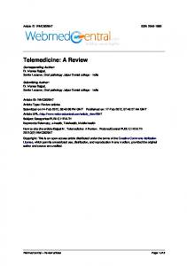 Telemedicine: A Review