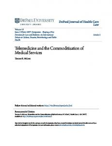 Telemedicine and the Commoditization of Medical Services