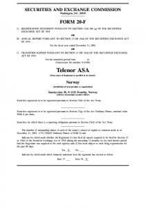 Telenor ASA (Exact name of Registrant as specified in its charter)