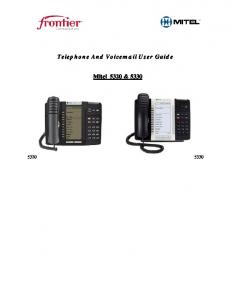 Telephone And Voic User Guide. Mitel 5320 & 5330