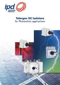 Telergon DC Isolators. for Photovoltaic applications