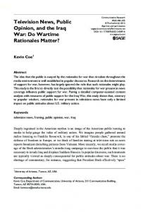 Television News, Public Opinion, and the Iraq War: Do Wartime Rationales Matter?