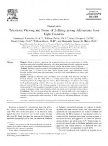 Television Viewing and Forms of Bullying among Adolescents from Eight Countries