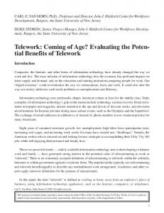 Telework: Coming of Age? Evaluating the Potential Benefits of Telework