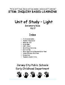 Tell me and I'll forget, show me and I may remember, involve me and I'll understand. STEM: INQUIRY BASED LEARNING. Unit of Study Light