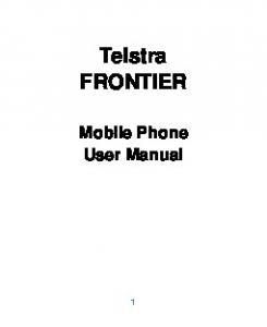 Telstra FRONTIER. Mobile Phone User Manual