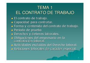TEMA 1 EL CONTRATO DE TRABAJO