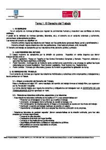 Tema 1: El Derecho del Trabajo