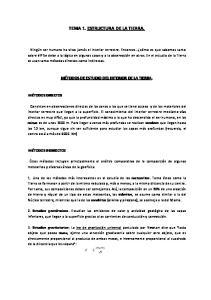 TEMA 1. ESTRUCTURA DE LA TIERRA