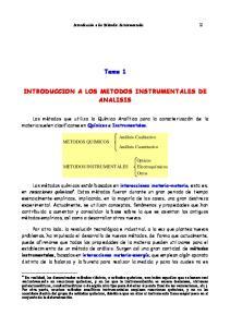 Tema 1 INTRODUCCION A LOS METODOS INSTRUMENTALES DE ANALISIS