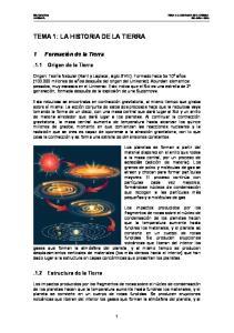 TEMA 1: LA HISTORIA DE LA TIERRA