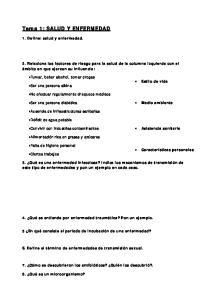 Tema 1: SALUD Y ENFERMEDAD