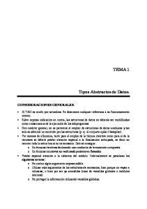 TEMA 1. Tipos Abstractos de Datos. CONSIDERACIONES GENERALES