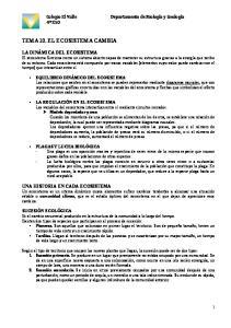 TEMA 10. EL ECOSISTEMA CAMBIA