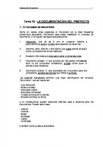 Tema 10.- LA DOCUMENTACION DEL PROYECTO
