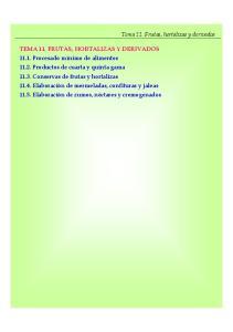 Tema 11. Frutas, hortalizas y derivados