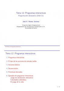 Tema 12: Programas interactivos