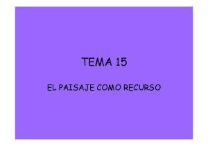 TEMA 15 EL PAISAJE COMO RECURSO